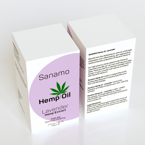 Top View Pack of 30ML Hemp Oil, Face Oil, Lavender Hempe Extract, SkinNotes By Sanamo