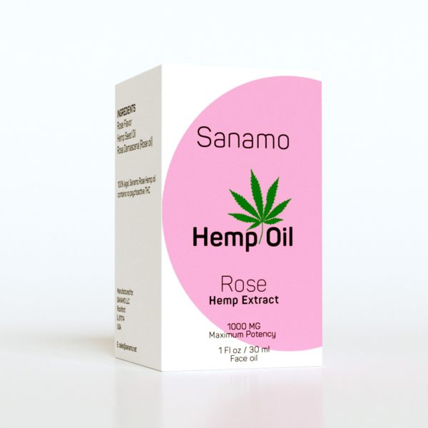 Side View 30ML Hemp Oil, Rose Hempe Extract, SkinNotes By Sanamo